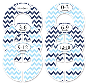 Blue & navy chevron adult closet rod dividers