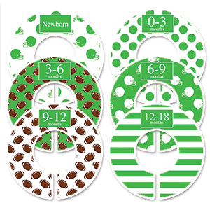 Green football boys clothes dividers