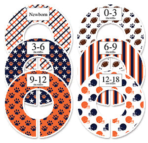 Football sports orange and navy rod organizers
