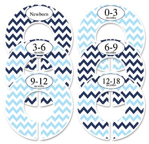 blue & navy chevron sorting labels