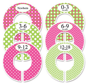 pink and green polka dots with chevron