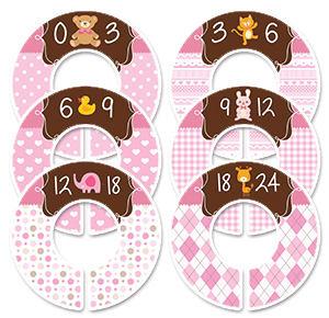 Girls baby animals pink size separators