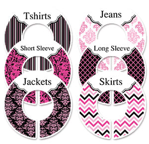 black and pink damask adult clothing sorting labels